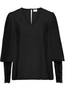 Блузка с кружевными рукавами (черный) Bonprix