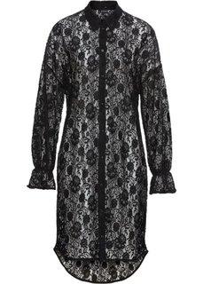 Платье рубашечного покроя из кружева (черный) Bonprix