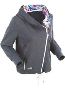 Трикотажная куртка с асимметричной застежкой-молнией (шиферно-серый с рисунком) Bonprix