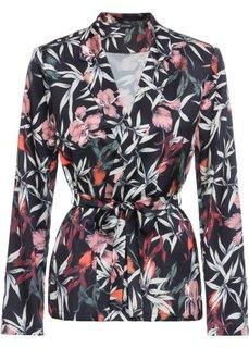 Пиджак из сатина с текстильным поясом (черный в цветочек) Bonprix