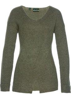 Пуловер с узором косичка (оливковый) Bonprix
