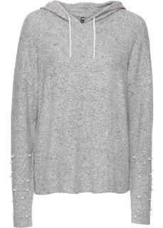 Пуловер с капюшоном и бусинами (серый меланж) Bonprix