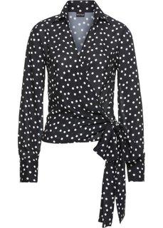 Блузка с эффектом запаха (черный/белый в горошек) Bonprix