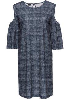 Платье с вырезами на плечах (черный/белый в клетку) Bonprix