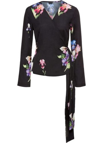 Блуза-кимоно с расклешенными рукавами (черный с рисунком)