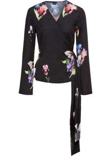 Блуза-кимоно с расклешенными рукавами (черный с рисунком) Bonprix