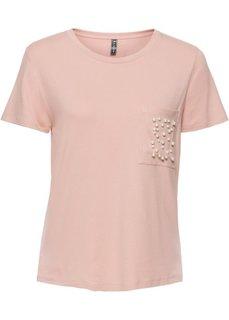 Футболка с бусинами (винтажно-розовый) Bonprix
