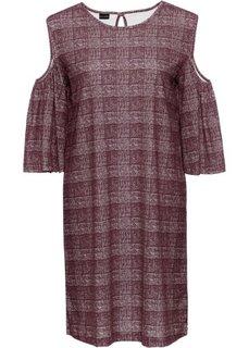 Платье с вырезами на плечах (кленово-красный/кремовый в клетку) Bonprix