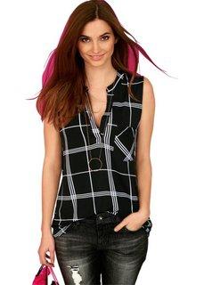 Блузка без рукавов (черный/белый в клетку) Bonprix