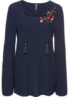 Блузка с вышивкой (темно-синий) Bonprix