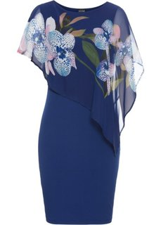Платье с шифоновой накидкой (темно-синий с рисунком орхидей) Bonprix