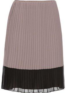 Юбка с плиссировкой (серо-коричневый/черный) Bonprix