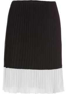 Юбка с плиссировкой (черный/кремовый) Bonprix