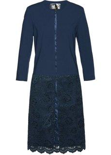 Длинный пиджак с кружевом (темно-синий) Bonprix