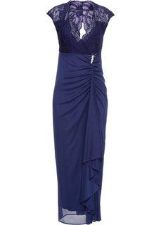 Платье в пол с кружевной отделкой (полуночная синь) Bonprix