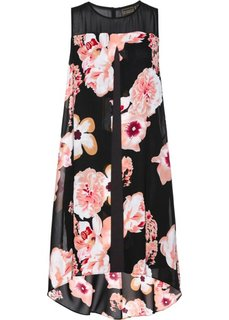 Платье с воланом (черный/красно-ягодный с принтом) Bonprix