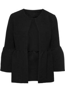 Куртка с воланами (черный) Bonprix