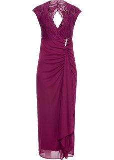 Платье в пол с кружевной отделкой (красная ягода) Bonprix