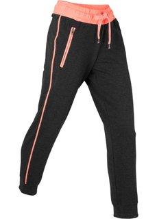 Спортивные трикотажные брюки 7/8 (черный/меланжевый лососевый неон) Bonprix