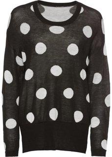 Пуловер в горошек (черный в горошек) Bonprix