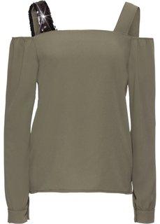 Блузка на бретелях (оливковый/черный) Bonprix