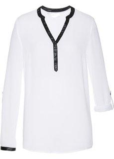 Туника с длинным рукавом (белый/черный) Bonprix