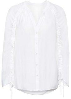 Блузка с драпировками на рукавах (белый) Bonprix