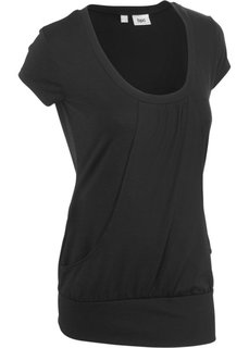 Длинная футболка стретч (черный) Bonprix