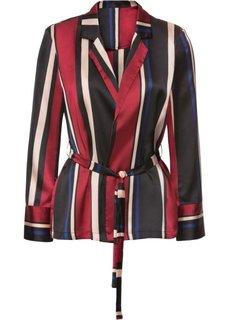 Пиджак из сатина с текстильным поясом (черный/темно-синий/красный в полоску) Bonprix