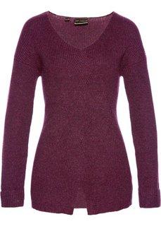 Пуловер с узором косичка (красная ягода) Bonprix
