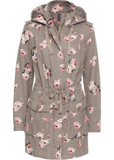 Куртка с капюшоном (серо-коричневый в цветочек) Bonprix