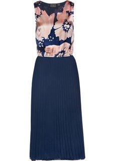 Длинное плиссированное платье (темно-синий) Bonprix