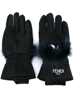 перчатки с лисьим мехом Fendi