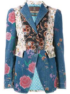 джинсовая куртка с цветочными нашивками Roberto Cavalli