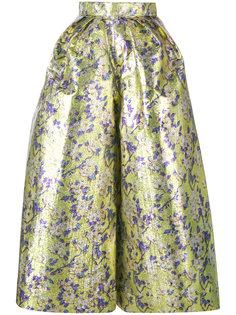 широкие укороченные брюки с цветочным узором Delpozo