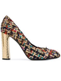 твидовые туфли-лодочки на металлическом каблуке Casadei