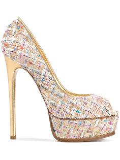 твидовые туфли на платформе  Casadei