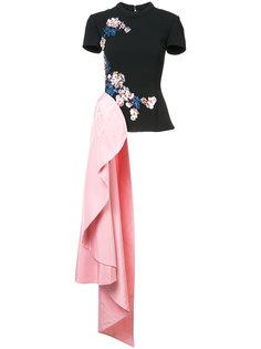 декорированная асимметричная блузка Oscar de la Renta