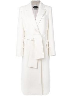 однобортное пальто с поясом Tom Ford