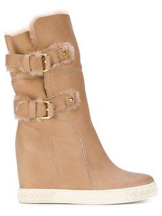 зимние ботинки с ремешками с пряжкой Casadei