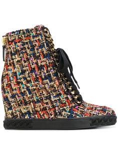 твидовые кроссовки на шнуровке Casadei