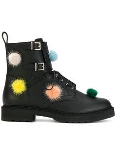 ботинки с помпонами Fendi
