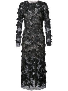 платье с аппликацией  Oscar de la Renta