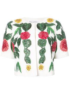 пиджак с рукавами до локтя и цветочной отделкой  Oscar de la Renta