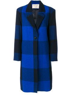клетчатое однобортное пальто Maison Kitsuné