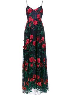 удлиненное платье с вышитыми розами Adam Selman