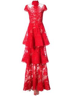кружевное платье с оборками Marchesa