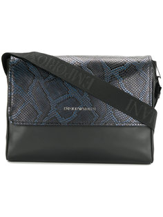сумка через плечо с эффектом крокодиловой кожи Emporio Armani