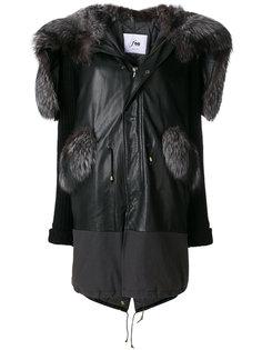 парка с кожаными деталями и капюшоном с меховой отделкой Furs66