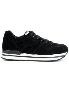 бархатные кроссовки со шнуровкой Hogan